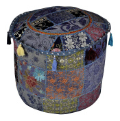 Indian Embroidered Patchwork Pouffe Ottoman Stool Cover 18 x 46cm x 36cm