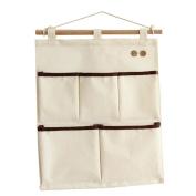 Sea Team New 100% Natural Linen & Cotton Fabric Wall Door Closet Hanging Storage Bag, 5-Pocket Hanging Storage Organiser