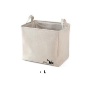 UQueen UQ6001 Simple Fashion Creative Household Large Capacity S/M/L Cotton and Linen Cloth Art Toy Snacks Laundry Deer Pattern Collapsible Storage Basket Box Case Organiser with Handle
