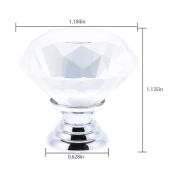 2pcs 30mm Crystal Glass Transparent Knob Drawer Cabiner Cupboard Door Handle Hardware