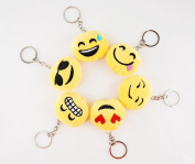 Multi-Set ~ Mini 3.8cm 3.8cm Round Emoji Face Keychain Key Chain Plush Toy Ring Emoticon Yellow Smiley Soft Cushion Gift US SELLER. Set of 6A)