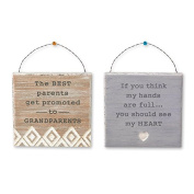 Convertible Wooden Family Sign With Inspirational Messages for Grandparents- Set of Two- Includes Wire, Magnet, & Standing Options- 11cm X 11cm