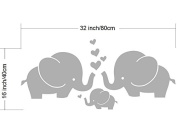 """Elephant Wall Decals Cute Elephant Family With Hearts Wall Decals Baby Nursery Decor Kids Room Wall Stickers, 80cm w x 13""""h, Grey"""
