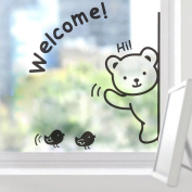 uhoMEY(TM) Welcome Wall Stickers Removable Bear Bird Window Wall Decoration Decals£¬Black