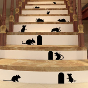 uhoMEY(TM) 1Pcs Mouse Hole Wall Stickers Creative Rat Mice Hole Cartoon Home Wall Decals