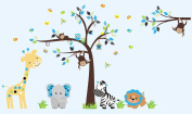 Boys Nursery Decals - Blue Animal Wall Stickers - Blue Themed Nursery Decor