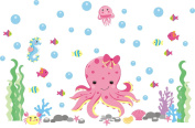 Girls Ocean Decals - Octopus Wall Decal - Pink Octopus Sticker - Bubbles & Fish