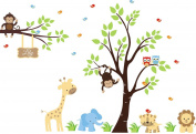 Tree Wall Decal - Safari Animal Kids Decals - Jungle Wall Art Stickers - Removable