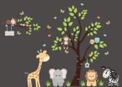 Girls Monogrammed Decals - Wall Decals Nursery - Safari Animal Decals - Reusable