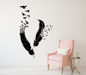 Feather Wall Decal Birds Of A Feather Nib Style Vinyl Sticker Decals Bird Home Decor Art Living Room Decor Boho Bedroom Nursery Dorm x165