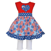Annloren Baby Girls Red Patriotic Heart Flags Dress Capri Boutique Outfit 12-24M