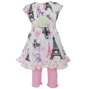 Baby Girls Pink Poodles in Paris Dress Legging Boutique Outfit 12-24M