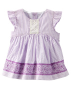 Baby Girls' Embroidered Eyelet Top - Purple - 6 Months