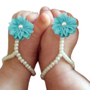 One Pair Baby Pearl Chiffon Barefoot Foot Flower Beach Sandals