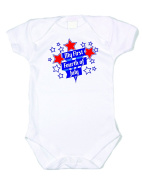 """My First 4th"" White bodysuit red/blue text 100% Cotton"