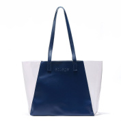 Flowertree® Women's Clear PVC Splicing PU Leather Tote Bag Shoulderbag Navy Blue