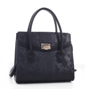 Auxentios Snakeskin Pattern Embossed Faux Leather Satchel Hand Bag