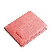 Women's Small Compact Wax Genuine Leather Bifold Wallet