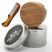 Small Beard Brush with Moustache Comb for Beard Grooming, Comes in Travel Metal Container, Great Beard Kit For Your Bearded Man