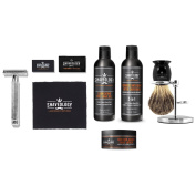 Shaveology SAFETY RAZOR (gryphon) BRUSH AND STAND COMBO & SKIN CARE TRIO