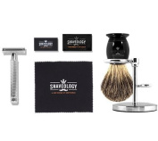 Shaveology Safety Razor (Chrome Handle) and Silvertip Badger Hair Shaving Brush and Stand Bundle