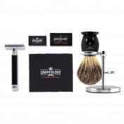 Shaveology Safety Razor and Silvertip Badger Hair Shave Brush and Stand Bundle