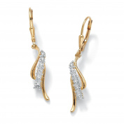 White Diamond Accent 18k Gold over .925 Sterling Silver Waterfall Drop Earrings