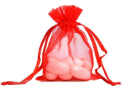 100pcs Red Organza Drawstring Pouches Jewellery Party Wedding Favour Gift Bags 10cm x 13cm