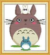 Good Value Stamped Cross Stitch Kits Beginners Kids Advanced - Totoro 33cm x 36cm , DIY Handmade Needlework Set Cross-Stitching Pre-printed Patterns Embroidery Home Decoration