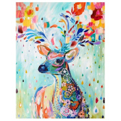 Whitelotous DIY 5D Colour Deer Diamond Sticker Cross Stitch Painting Home Decor 30*37cm