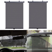 Malloom 2pcs 40*45cm Car Auto Roller Sun Shade Visor Retractable Car Sunshade Window Curtain