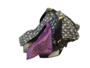 BayB Brand Car Seat Canopy - Grey Arrows w/ Purple