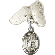 Sterling Silver Baby Badge with St. Joachim Charm and Baby Boots Pin 2.5cm X 1.6cm