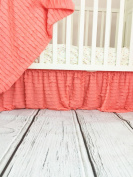 Light Coral Ruffle Crib Skirt Baby Girl Nursery Crib Bedding Shabby Chic