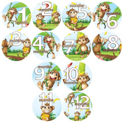 Baby Monthly Belly Stickers SILLY MONKEYS WITH BANANAS, Stickers Baby Shower Gift Photo Shower Stickers Baby Photo Onesie Milestone Stickers