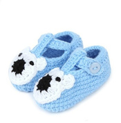 FuzzyGreen® Cute Bear Baby Newborn Infant Girl Boy Hand Knitting Crochet Pre Walker Toddler Buckle Shoes Socks Booties