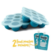 Silicone Freezer Tray for Baby Food Storage - Twin Pack - With Bonus 2 Reusable Food Pouches - BPA Free High Quality Freezer Container with Lid for Homemade Puree, Ice, Breastmilk & Baking