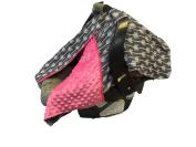 BayB Brand Car Seat Canopy - Grey Arrows w/ Pink