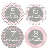 Monthly Baby Girl Stickers Little Peanut Baby Girl Stickers Chevron Pinks And Grey