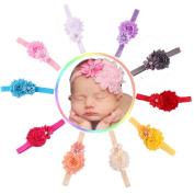 Generic Cute 10pcs Baby Girl Elastic Multicolor Flower Headband