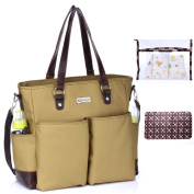 Mengma Baby Nappy Tote Bags Pure Colour Shoulder Travel Bag with Changing Mat Wet Bag Army Green