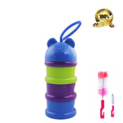 KAMIERFA Cute Animal BPA Free Portable Non-Spill Baby Milk Powder Dispenser Snack Storage Container with Nipple Brush Set 2 in 1