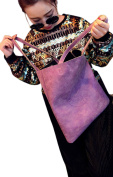 Fakeface Women Lady Fashion PU Leather Stylish Shopping Dating Shoulder Bags Tote Simple Style Handbags Purple