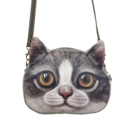 Fakeface Cute Fashionable Cat Face Animal Theme Shoulder Bag Lovely Cat Head Stylish Cross Body Bag Shopping Handbags Clutch Brown Eyes