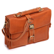 Leathario Men's Leather Laptop Tote Briefcase Business Bag