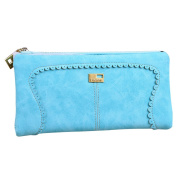 Womens Girls Fashion Faux Leather Wallet Card Holder Lacework Zipper Clutch Purse Long Handbag Bag