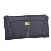 Sanwood Womens Girls Fashion Faux Leather Wallet Card Holder Lacework Zipper Clutch Purse Long Handbag Bag