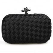hibote New Lady's Knitted Knot Clutch Evening Bag Fashion Women Formal Evening Cluthes Black