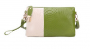 Women's Pu Leather Colour Block Clutch Handbag Shoulder Crossbody Bag