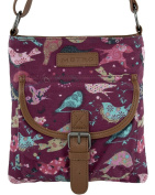 Ladies / Girls Small Canvas Bird Print Cross Body / Shoulder / Tablet Bag